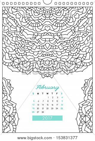 wall calendar 2017 with ornament for coloring, anti stress coloring book, february