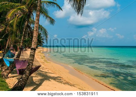 tropical beach with hammock on palm relax concept from Nicaragua