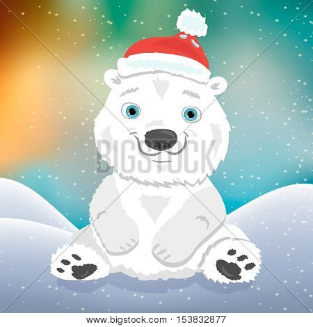 Cute cartoon polar bear cub in Christmas hat, modern style vector greeting card illustration.