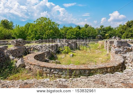 Ruins of Episcopal Basilica at the Archaeological Park of Dion. Pieria Macedonia Greece