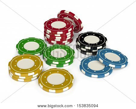 Casino gambling chips 3D isolated on white background