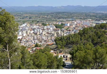 Town of Lliria and surrounding countryside near to Valencia Spain. Viewed from Monastery of St Michael.