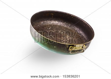 Old pan for backing isolated on white background