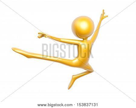 golden guy doing gymnastics isolated on white background 3d illustration