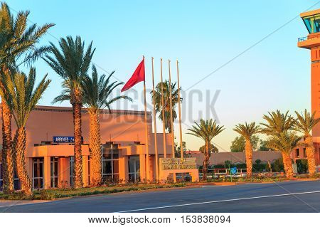 Ouarzazate Morocco - Feb 28 2016: Ouarzazate Airport. Ouarzazate nicknamed The door of the desert is a city and capital of Ouarzazate Province in Draa-Tafilalet region of south-central Morocco.
