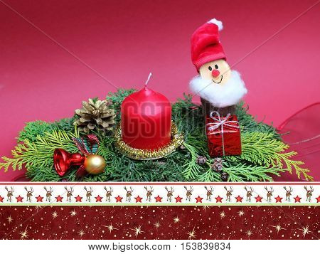 handcrafted xmas spray with cute dwarf and candle christmassy border card design