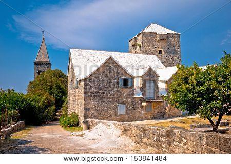 Stone village of Skrip landmarks view island of Brac Dalmatia Croatia