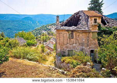 Rural stone village of Skrip ruins island of Brac Dalmatia Croatia