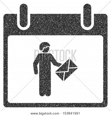 Postman Calendar Day grainy textured icon for overlay watermark stamps. Flat symbol with unclean texture. Dotted vector gray ink rubber seal stamp with grunge design on a white background.