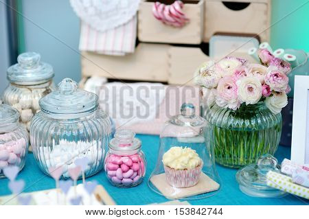 Fancy blue and pink table set for a wedding reception