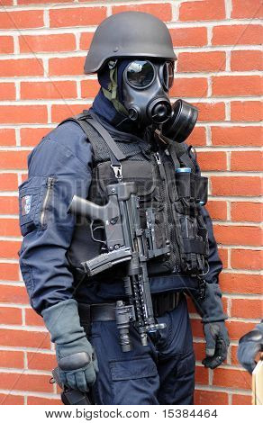 Swat Officer In Gas Mask