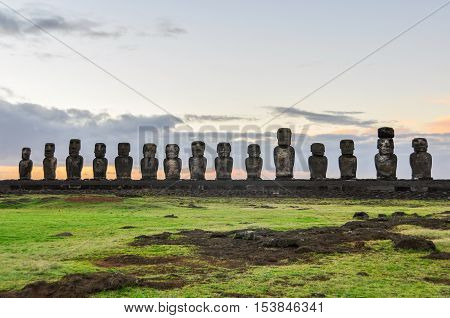 Sunrise At The Ahu Tongariki In Easter Island, Chile