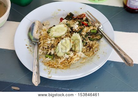 Rice on dish from the remaining eating.