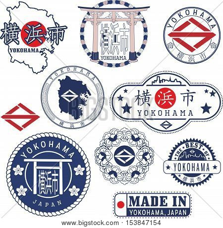 Yokohama, Japan. Set Of Stamps And Signs
