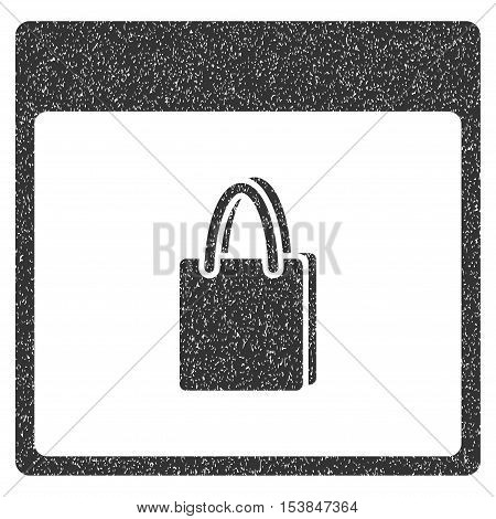 Shopping Bag Calendar Page grainy textured icon for overlay watermark stamps. Flat symbol with dust texture. Dotted vector gray ink rubber seal stamp with grunge design on a white background.