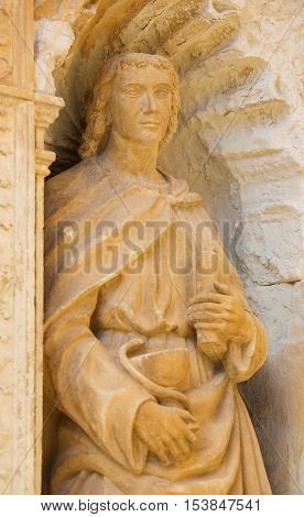 Statue Of John The Apostle At The Saint Thomas Church Of Haro, La Rioja