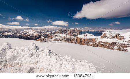 View From The Summit Of Sass Pordoi, Dolomites, Italy