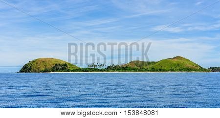 View of the tiny Mana Island in Fiji