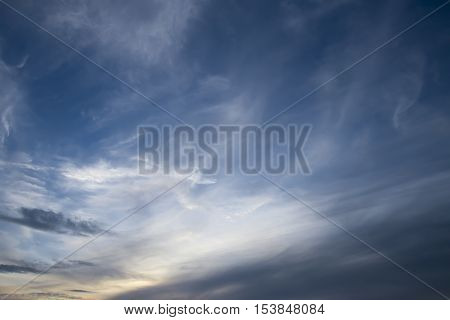 clouds on sky in the evening. Sky background