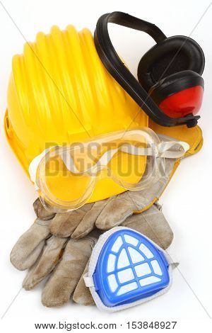 Safety equipment set close up on white