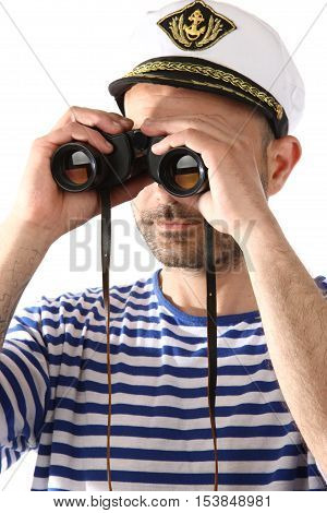a seaman with binoculars over white background