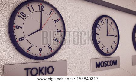 Clocks On Wall, Symbol For Greenwich Mean Time
