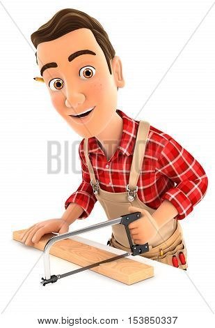 3d handyman sawing wooden plank illustration with isolated white background