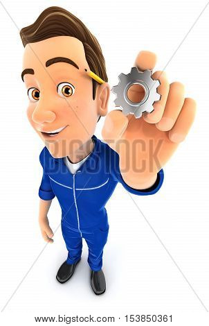 3d mechanic holding a gear illustration with isolated white background