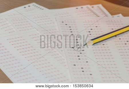 optical form of an examination with pencil filling a standardized test form