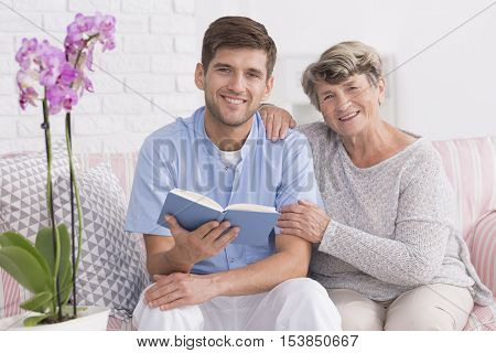 Nurse And Elder Women On A Couch