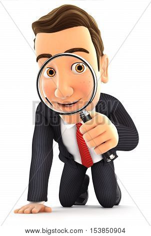 3d businessman looking through a magnifying glass illustration with isolated white background