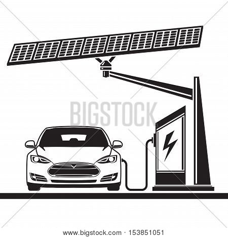 Electric car. Charging at a gas station. Solar battery
