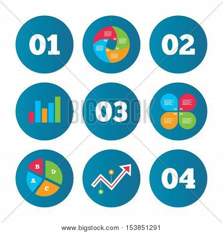 Business pie chart. Growth curve. Presentation buttons. Step one, two, three and four icons. Sequence of options symbols. Loading process signs. Data analysis. Vector