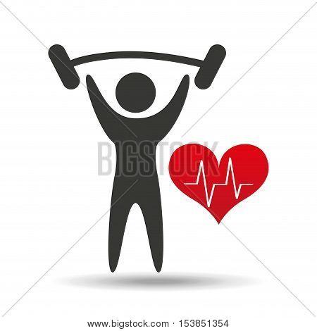athlete silhouette lift barbell heart vector illustration eps 10