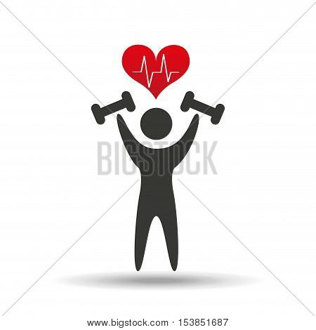 athlete silhouette barbell weights heart vector illustration