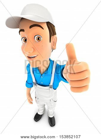 3d painter positive pose with thumb up illustration with isolated white background