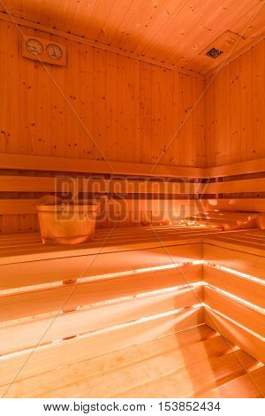 Dry Sauna With The Wooden Structure