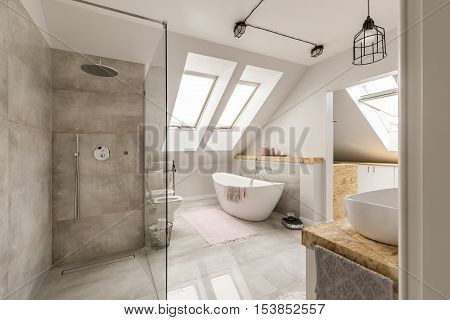 Modern Bathroom Interior With Minimalistic Shower
