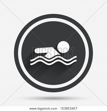 Swimming sign icon. Pool swim symbol. Sea wave. Circle flat button with shadow and border. Vector