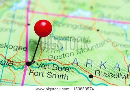Van Buren pinned on a map of Arkansas, USA