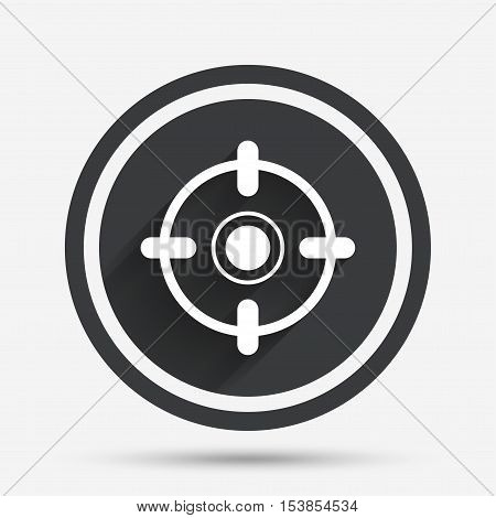 Crosshair sign icon. Target aim symbol. Circle flat button with shadow and border. Vector