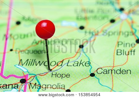 Hope pinned on a map of Arkansas, USA