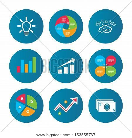 Business pie chart. Growth curve. Presentation buttons. Chart with arrow, brainstorm icons. Cash money and lamp idea signs. Scheme and Diagram symbol. Data analysis. Vector