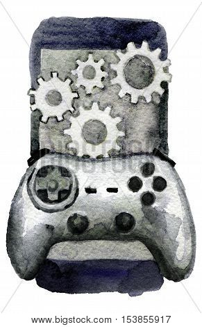 watercolor sketch of game controller and smartphone on white background