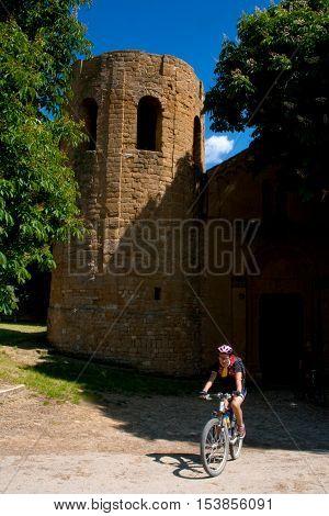 Val d'Orcia Siena mountain bike excursion in the Tuscan hills - Pieve di Corsignano in Pienza