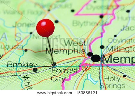 Forrest City pinned on a map of Arkansas, USA