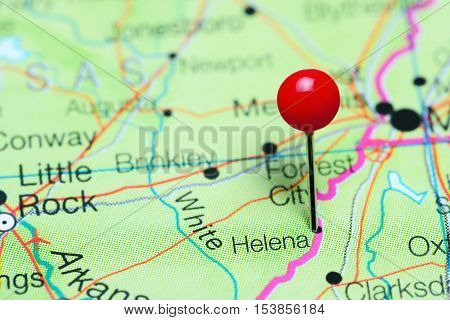 Helena pinned on a map of Arkansas, USA