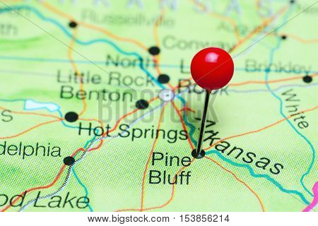 Pine Bluff pinned on a map of Arkansas, USA