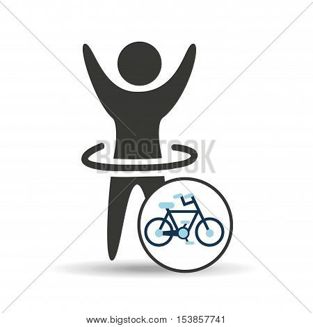 man hand up silhouette with bycicle icon design vector illustration eps 10