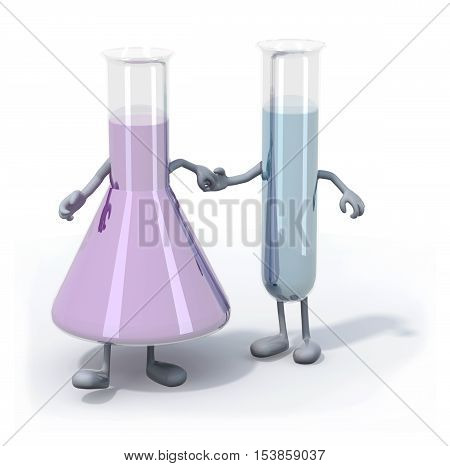 two testtubes with colored liquid inside with arms and legs that walk 3d illustration